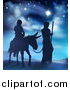 Vector Illustration of a Virgin Mary on a Donkey and Joseph Silhouetted Under the Star of David by AtStockIllustration