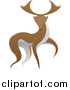 Vector Illustration of a Walking Brown and White Stag Deer Buck by AtStockIllustration