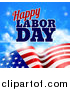 Vector Illustration of a Waving American Flag with Flares Under Happy Labor Day Text by AtStockIllustration