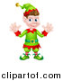 Vector Illustration of a Welcoming Young Brunette White Male Christmas Elf Waving with Both Hands by AtStockIllustration