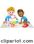Vector Illustration of a White and Black Boys Painting and Playing with a Toy Car by AtStockIllustration