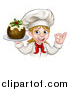 Vector Illustration of a White Female Chef Gesturing Ok and Holding a Christmas Pudding by AtStockIllustration