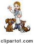 Vector Illustration of a White Female Veterinarian Waving and Giving a Thumb up over a Cat and Dog by AtStockIllustration