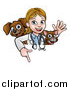 Vector Illustration of a White Female Veterinarian Waving with a Cat and Dog over a Sign by AtStockIllustration