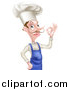 Vector Illustration of a White Male Chef with a Curling Mustache, Gesturing Ok by AtStockIllustration