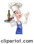 Vector Illustration of a White Male Chef with a Curling Mustache, Gesturing Okay and Holding a Tray with Red Wine by AtStockIllustration