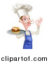 Vector Illustration of a White Male Chef with a Curling Mustache, Holding a Cheeseburger on a Platter and Gesturing Okay by AtStockIllustration