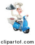 Vector Illustration of a White Male Chef with a Curling Mustache, Holding a Cloche and Delivering Pizzas on a Scooter by AtStockIllustration
