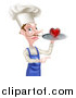 Vector Illustration of a White Male Chef with a Curling Mustache, Holding a Heart on a Tray and Pointing by AtStockIllustration