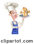 Vector Illustration of a White Male Chef with a Curling Mustache, Holding a Hot Dog Character on a Platter and Pointing by AtStockIllustration