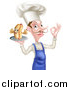 Vector Illustration of a White Male Chef with a Curling Mustache, Holding a Hot Dog Mascot on a Platter, and Gesturing Ok by AtStockIllustration
