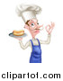 Vector Illustration of a White Male Chef with a Curling Mustache, Holding a Hot Dog on a Platter and Gesturing Ok by AtStockIllustration