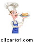 Vector Illustration of a White Male Chef with a Curling Mustache, Holding a Hot Dog on a Platter and Pointing by AtStockIllustration