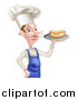Vector Illustration of a White Male Chef with a Curling Mustache, Holding a Hot Dog on a Platter by AtStockIllustration