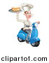 Vector Illustration of a White Male Chef with a Curling Mustache, Holding a Hot Dog on a Scooter by AtStockIllustration
