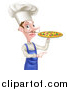 Vector Illustration of a White Male Chef with a Curling Mustache, Holding a Pizza and Pointing by AtStockIllustration