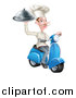 Vector Illustration of a White Male Chef with a Curling Mustache, Holding a Platter on a Delivery Scooter by AtStockIllustration