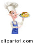 Vector Illustration of a White Male Chef with a Curling Mustache, Holding a Souvlaki Kebab Sandwich and French Fries on a Tray and Pointing by AtStockIllustration