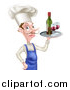 Vector Illustration of a White Male Chef with a Curling Mustache, Holding a Tray with Red Wine by AtStockIllustration