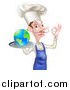 Vector Illustration of a White Male Chef with a Curling Mustache, Holding Earth on a Platter and Gesturing Ok by AtStockIllustration