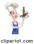 Vector Illustration of a White Male Chef with a Curling Mustache, Pointing and Holding a Tray with Red Wine by AtStockIllustration