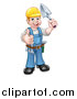 Vector Illustration of a White Male Mason Worker Holding a Trowel and Giving a Thumb up by AtStockIllustration
