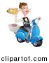 Vector Illustration of a White Male Waiter with a Curling Mustache, Holding a Hot Dog and Fries on a Platter, Riding a Scooter, with Pizza Boxes by AtStockIllustration