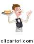 Vector Illustration of a White Male Waiter with a Curling Mustache, Holding a Hot Dog on a Platter and Gesturing Ok by AtStockIllustration