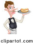 Vector Illustration of a White Male Waiter with a Curling Mustache, Holding a Hot Dog on a Platter by AtStockIllustration