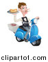 Vector Illustration of a White Male Waiter with a Curling Mustache, Holding a Hot Dog on a Scooter, with Pizza Boxes by AtStockIllustration