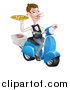 Vector Illustration of a White Male Waiter with a Curling Mustache, Holding a Pizza on a Scooter by AtStockIllustration