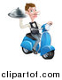Vector Illustration of a White Male Waiter with a Curling Mustache, Holding a Platter on a Delivery Scooter by AtStockIllustration