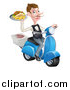 Vector Illustration of a White Male Waiter with a Curling Mustache, Holding a Souvlaki Kebab Sandwich and Fries on a Scooter by AtStockIllustration