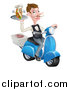 Vector Illustration of a White Male Waiter with a Curling Mustache, Holding a Souvlaki Kebab Sandwich on a Scooter by AtStockIllustration