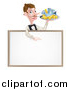 Vector Illustration of a White Male Waiter with a Curling Mustache, Holding Fish and a Chips and Pointing down over a Menu or Blank Sign by AtStockIllustration