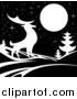 Vector Illustration of a White Silhouetted Buck Deer with Evergreens Under a Full Moon at Night by AtStockIllustration