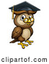 Vector Illustration of a Wise Professor Owl with Glasses and Graduation Cap by AtStockIllustration