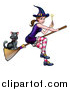 Vector Illustration of a Witch Holding a Magic Wand and Cat Flying on a Broomstick by AtStockIllustration