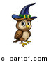 Vector Illustration of a Witch Owl Wearing a Hat by AtStockIllustration