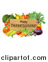 Vector Illustration of a Wooden Happy Thanksgiving Sign Framed in Produce Vegetables by AtStockIllustration