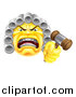 Vector Illustration of a Yellow Angry Judge Holding a Gavel Emoji Emoticon Smiley by AtStockIllustration