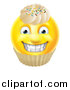 Vector Illustration of a Yellow Male Smiley Emoji Emoticon Face Cupcake with Sprinkles and Frosting by AtStockIllustration