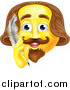 Vector Illustration of a Yellow Shakespeare Smiley Emoji Emoticon Holding a Feather Quill Pen by AtStockIllustration