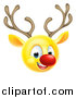 Vector Illustration of a Yellow Smiley Emoji Emoticon Christmas Reindeer Rudolph by AtStockIllustration
