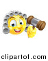 Vector Illustration of a Yellow Smiley Emoji Emoticon Judge Wearing a Wig and Holding a Gavel by AtStockIllustration