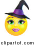Vector Illustration of a Yellow Witch Smiley Emoji Emoticon Face by AtStockIllustration
