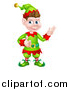 Vector Illustration of a Young Brunette White Male Christmas Elf Presenting and Giving a Thumb up by AtStockIllustration