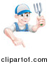Vector Illustration of a Young Brunette White Male Gardener in Blue, Holding a Garden Fork and Pointing down over a Sign by AtStockIllustration
