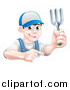 Vector Illustration of a Young Brunette White Male Gardener in Blue, Holding a Garden Fork and Pointing over a Sign by AtStockIllustration