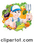 Vector Illustration of a Young Brunette White Male Gardener in Blue, Holding up a Garden Fork and Giving a Thumb up in a Wreath of Produce by AtStockIllustration